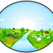 Stock Vector: Farming panorama