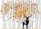 Deer at deep forest — Stock Vector