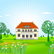 Stock Vector: Country house