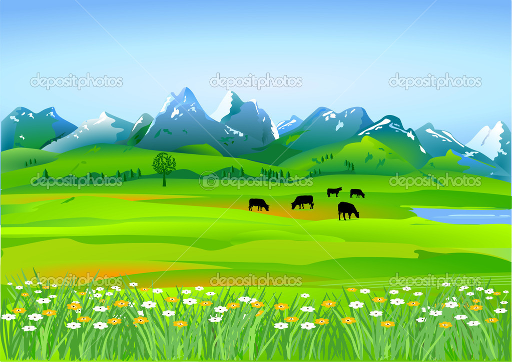 Alpine meadows — Stock Vector #4436828