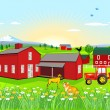 Farm with Dog and Cat — Stock Vector