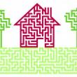 Stock Vector: Residential House Labyrinth