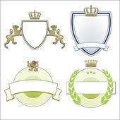Heraldic crown, lions & shields — Stock Vector