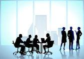 Team work, office workers — Stock Vector