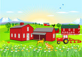 Farm with Dog and Cat — Stockvector