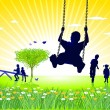 Royalty-Free Stock Vector Image: To go on the swings