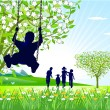 Stock Vector: Springtime on swings