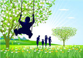 Springtime on the swings — Stock Vector