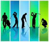 Five golf player — Stock Vector