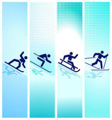Winter sports in the mountain — Stock Vector