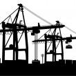 Container-Terminal — Stock Vector