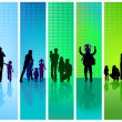 Families on blue and green background — Stock Vector