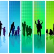 Stock Vector: Families on blue and green background