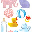 Baby toys and baby bottle - Stock Vector