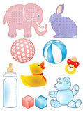 Baby toys and baby bottle — Stock Vector