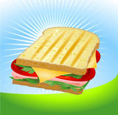 A ham and cheese sandwich — Stock Vector