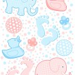 Baby set of newborn elements — Stock Vector