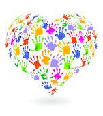 Kids hands prints sign — Stock Vector