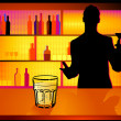 Stock Vector: Nightclub and barman