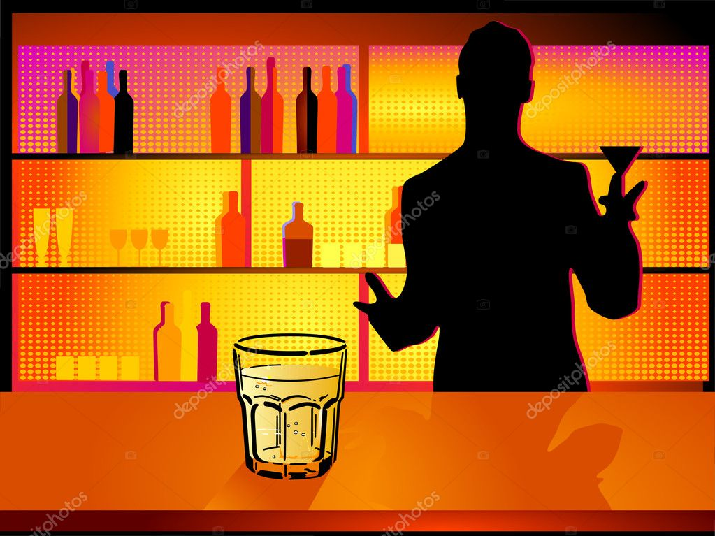 Nightclub and barman — Stok Vektör #4970216