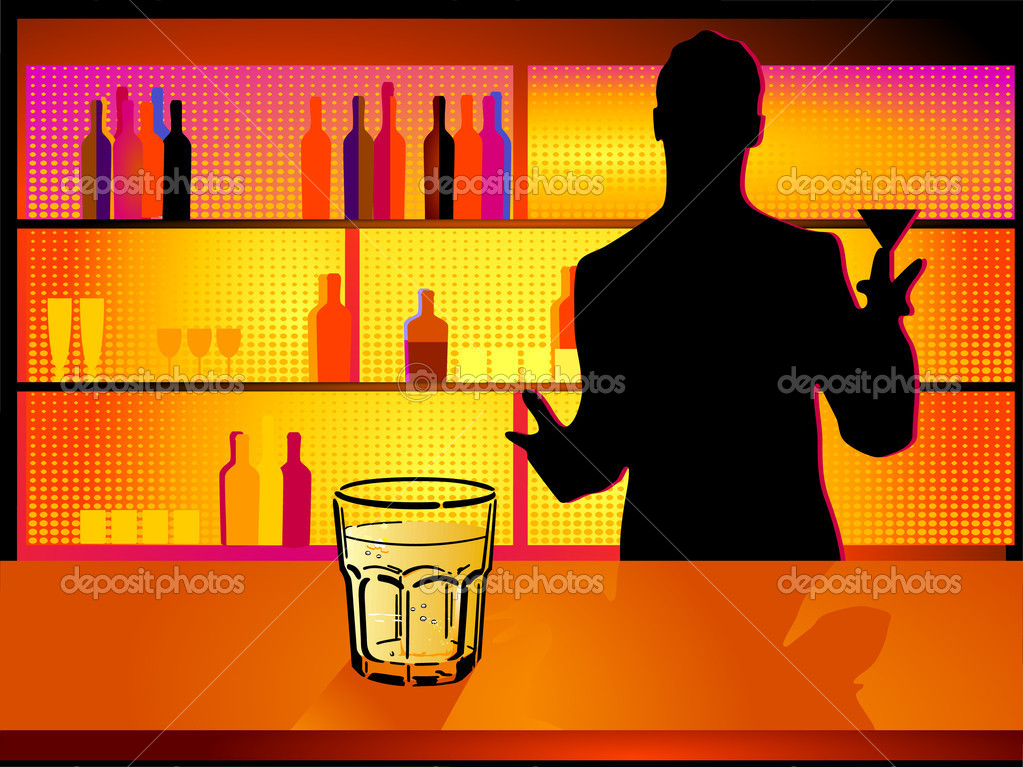 Nightclub and barman — Imagen vectorial #4970216