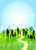 Families in the green meadow — Stock Vector