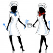 Two female cook - Stock Vector