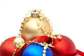 Red and blue christmas blubs — Stock Photo
