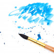 Royalty-Free Stock Photo: Brush with blue paint stroke and stick