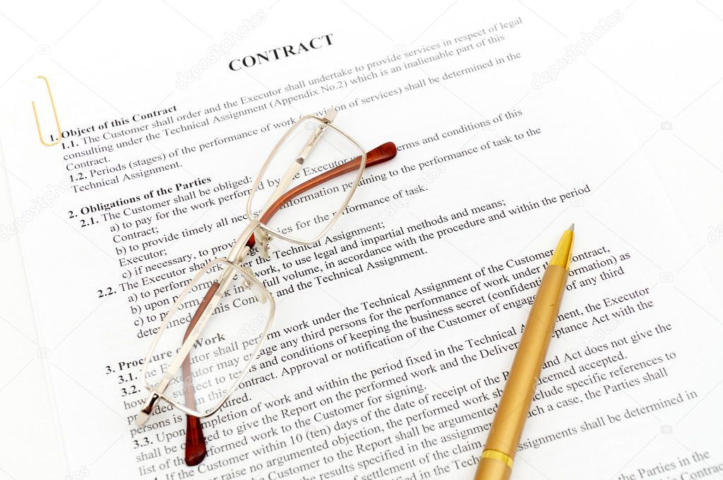 Legal contract papers with pen and glasses — Stock Photo #4512220