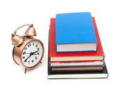 Reloj y libros — Foto de Stock