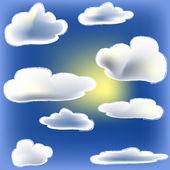 Soleil et nuage — Vecteur