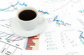 Coffee And Stock Chart — Stock Photo