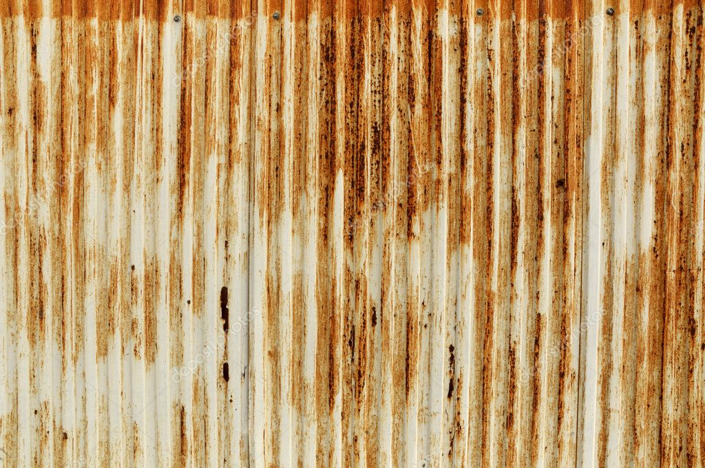 Rusty Old Corrugated Iron Fence Stock Photo
