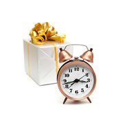 A retro clock with presents — Foto Stock