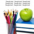 Apple, books and colored pencil — Stock Photo #5223824
