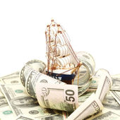 Ship and wave from money, Business concept — Stock Photo
