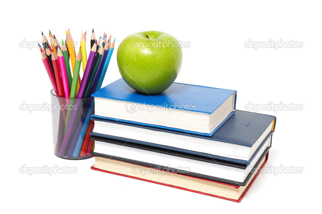 Apple books and colored pencil stock photo for Apple 300 picture book