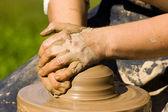 Mãos de oleiros — Foto Stock