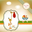 Welcome baby card with stork  — Stock Vector #5314670