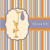 Welcome baby card with stork — Stock Vector