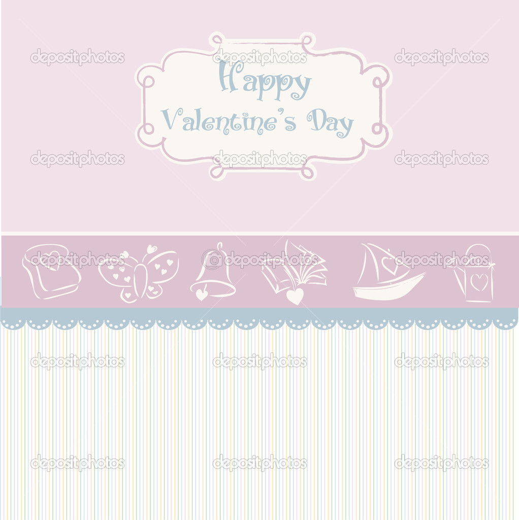 Vintage valentine's day card — Stock Vector #5315262