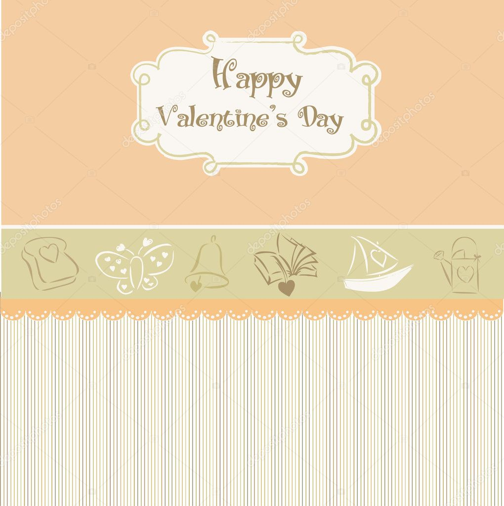Vintage valentine's day card — Stock Vector #5315263