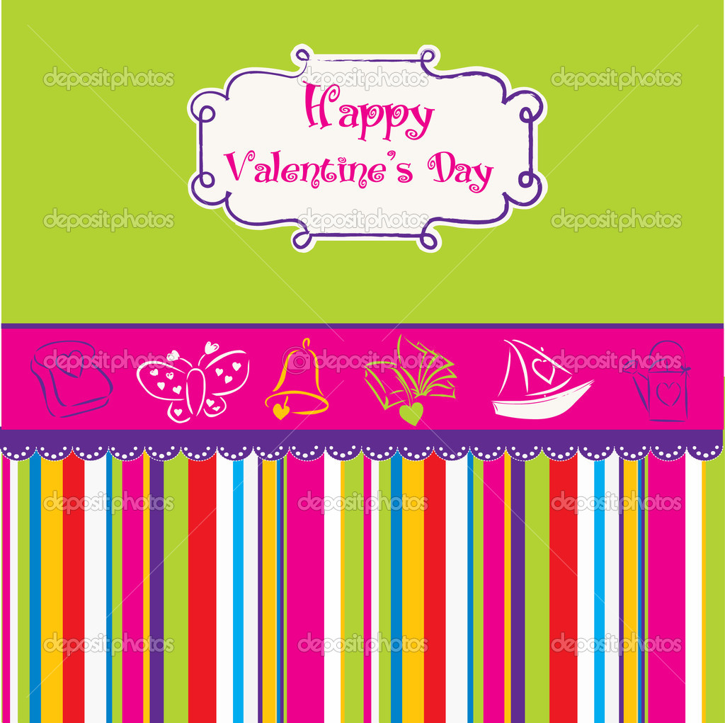 Vintage valentine's day card — Stock Vector #5315276