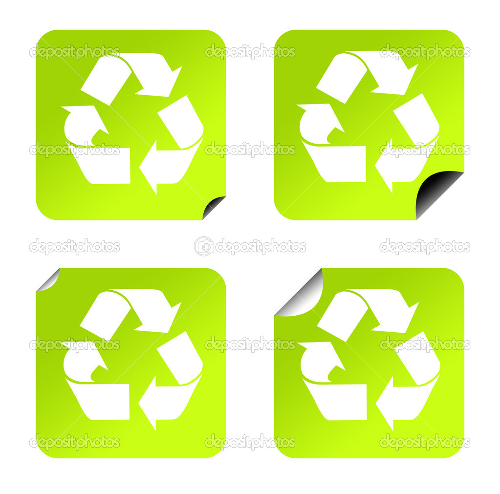Green eco recycling stickers or buttons, isolated on white background. — Stock Photo #4002167