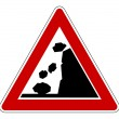 Stock Photo: Falling rocks road sign