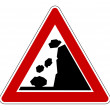 Stok fotoğraf: Falling rocks road sign