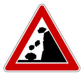 Falling rocks road sign — Stock Photo