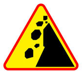 Landslide road warning sign — Stock Photo