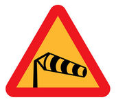 Cross winds warning sign — Stock Photo
